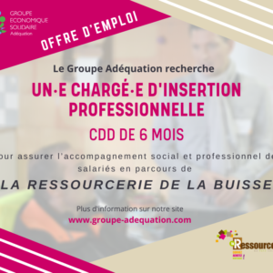 LA RESSOURCERIE RECRUTE UN·E CHARGE·E D'INSERTION PROFESSIONNELLE / CDD 6 MOIS