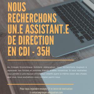 Nous recrutons un·e assistant·e de direction en CDI - 35 h